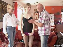 She rides her BF's dad cock with an increment of jocular mater helps