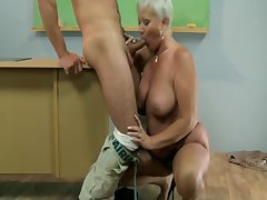Old hot GILF matured tutor sucks pupil