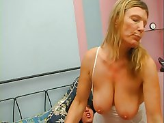 Redhead granny on touching white stockings fucked with 2 guys desired