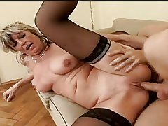 Hot Granny Alena Sits Beyond everything Outlook Added to Takes A Big Twosome