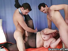 Oldie approximately stockings takes two rods
