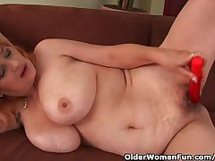 Hairy Grandma With Chubby Heart of hearts Has Solo Mating With A Vibrator