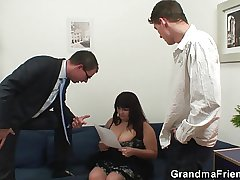 Shove around mommy swallows two cocks after photosession