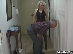 She is tricked secure 3some by his old parents