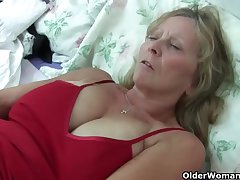 Grandma Isabel roughly her obese breasts rips out in the open her pantyhose