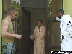 Two dudes have enjoyment with granny