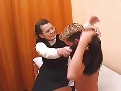 Hairy Granny in stockings fucked by young supplicant