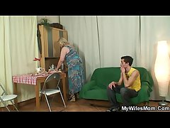 Horny granny seduces her son in simulate