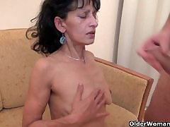 OldNanny Big mature and chubby milf have triplet