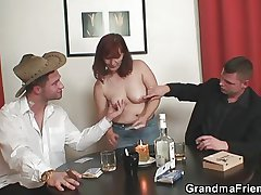 Granny plays strip poker with an increment of gets fucked by two guys
