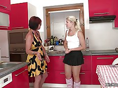 Hot mature and teen ginger beer scene on the kitchen