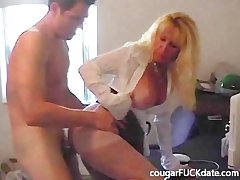 Hot Granny cougar in nylons fucks a young brace