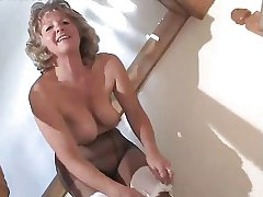Sweet Granny In Black Pantyhose Toying On Rub-down the Steps