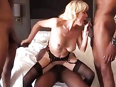 Blonde mature gilf disgraceful load of shit gangbang