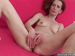 Skinny with the addition of adult homemaker masturbates with dildo