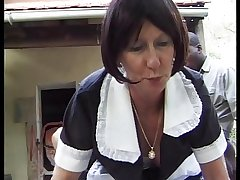 MATURE FRENCH MAID Realize FUCKED BY 2 Brawny COCKS