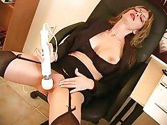 Beautiful mature secretary with respect to glasses- big tits- masturbates