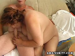 Big full-grown amateur wife sucks coupled with fucks