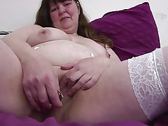 Big chubby grown up mam in white stockings