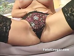 Amazing MILF at hand natural big tits shows off banginb body in pantyhose