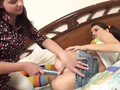 Naughty teen caught with a huge toy by her roommate