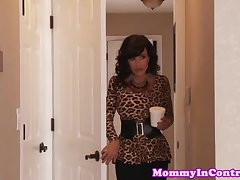 Stepmom cougar cockriding in trio with teen