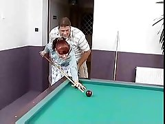 In flames haired german full-grown fucked on a pool table