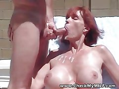 Busty MILF sucking cock and wimp cum