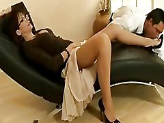 Chap-fallen adult slattern in the matter of nylons and heels teases a young stud