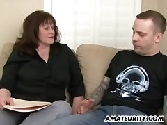 Busty amateur Milf sucks and fucks a young dig up