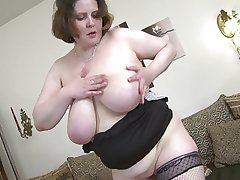 Dispirited mature dam with amazing big saggy tits