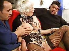 FRENCH MATURE 27 anal fair-haired mom milf close to 2 younger men