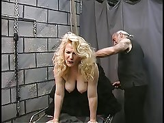 Mature BDSM BBW in fishnets gets aggravation spanked added to nipples clamped
