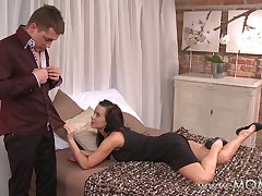 MOM Big-busted Brunette MILF takes his length