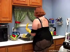 Hot added to horny chubby housewife has a nice wank there the cookhouse