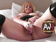 British bareback MILF slut squirts painless gangbanged by 6 guys
