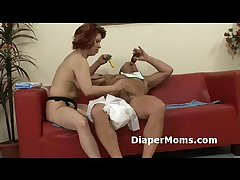 Mature mommy strap-on fucks hairy adultbaby be suited to gives him tight handjob