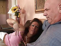 Hungry MILF with huge Bristols rides dude's thick cock on the sofa