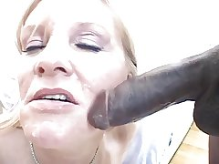 Blonde milf sucks large hyacinthine load of shit