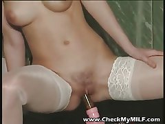 Gorgeour soccer MILF in lacy stockings playing less dildo