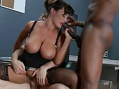 Super hot brunette MILF bus fucks three obese cocks