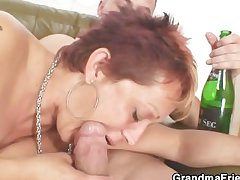 Lonely grandma gets pounded apart from two buddies
