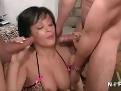 Big boobed french milf gets hot shower coupled with hard fucked in triptych