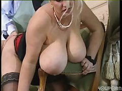 Beamy titty blonde BBW gets until now fucking