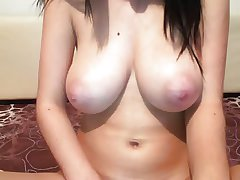 milf with broad in the beam gut and dildo on cam