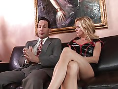 Kirmess MILF wants cream pie finish with leather sofa sexual relations