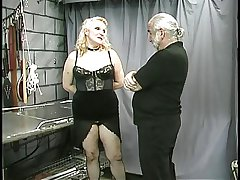 Mature chubby slave nipple clamped increased by teased
