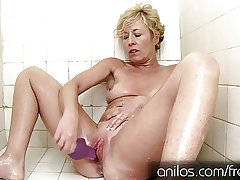 Her own cum wet blanket from the brush mature pussy