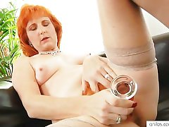 Redhead mama dildos muted pussy