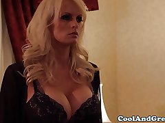 Lingerie wearing blonde busty milf appealing clit licked